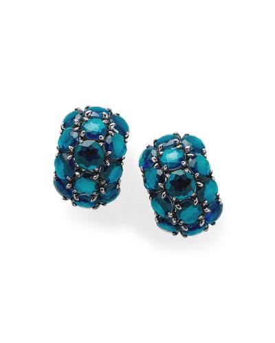 925 Rock Candy Wonderland Cluster Omega Earrings in Dark Blue Frost