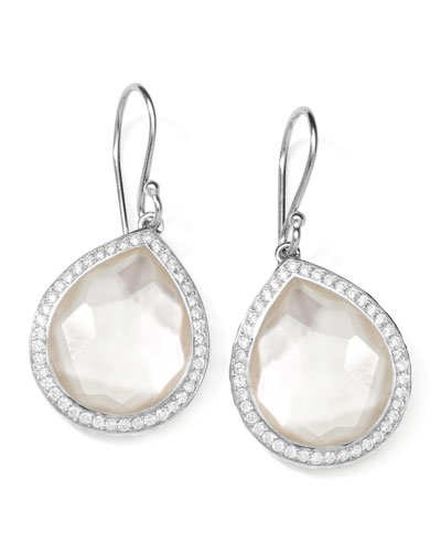 Stella Teardrop Earrings in Mother-of-Pearl Doublet with Diamonds, 34mm