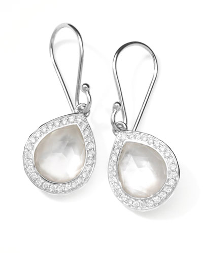 Rock Candy Teardrop Earrings in Mother-of-Pearl Doublet with Diamonds, 28mm