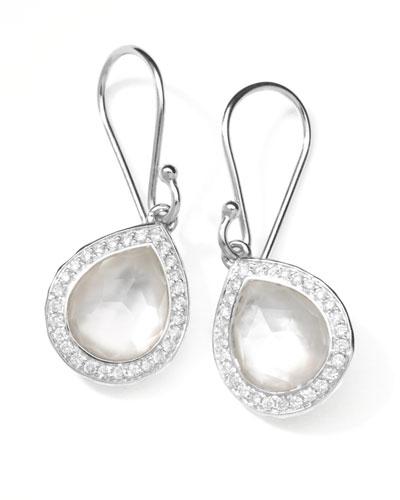 Rock Candy Teardrop Earrings in Mother-of-Pearl Doublet with Diamonds, 28mm