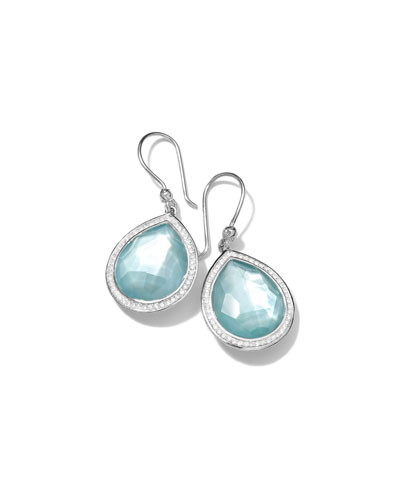 Lollipop Diamond-Trim Teardrop Earrings in Swiss Blue Topaz