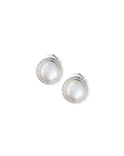 Stella Stud Earrings in Mother-of Pearl Doublet with Diamonds