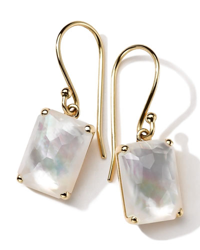 18k Gold Rock Candy Gelato Single Rectangle Drop Earrings, Mother-of-Pearl