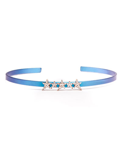DIANE KORDAS Cosmos Star-Row Titanium Bracelet With Diamonds, Blue