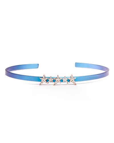 Cosmos Star-Row Titanium Bracelet with Diamonds, Blue