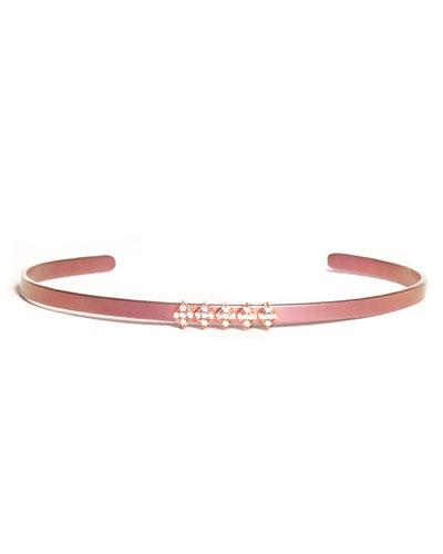 Cosmos Half-Row Titanium Bracelet with Diamonds, Pink