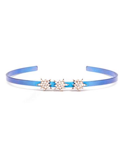 Cosmos Diamond Triple Explosion Titanium Bracelet, Blue