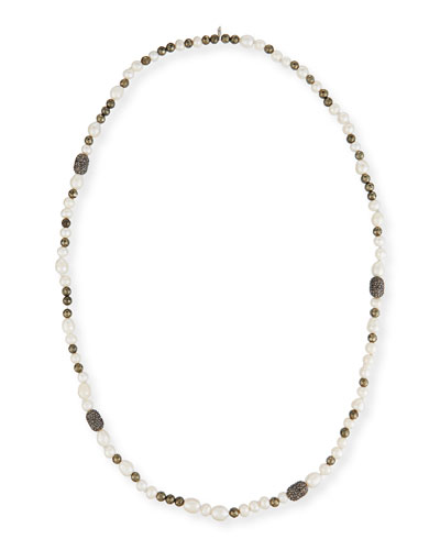 Mychelle Pearly Bead & Rhinestone Necklace, 43