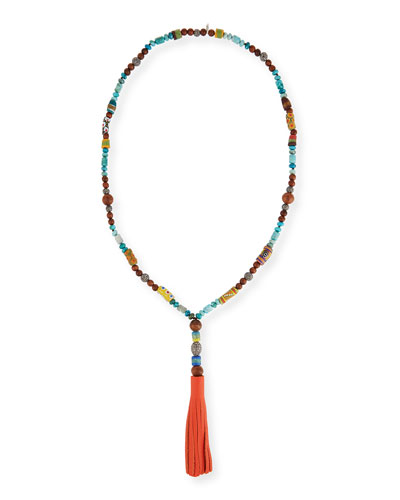 Ida Beaded Necklace w/Leather Tassel, 43