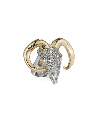 Crystal-Encrusted Horned Ram Ring