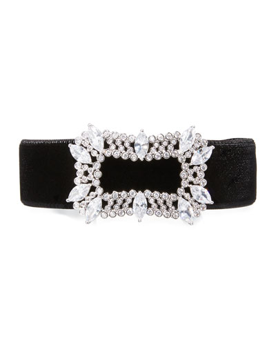 Toria Velvet Crystal-Buckle Choker Necklace, Black
