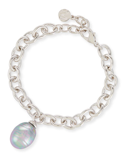 Chain Bracelet with Baroque Pearl Charm