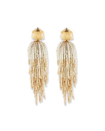 Golden Beaded Tassel Drop Earrings