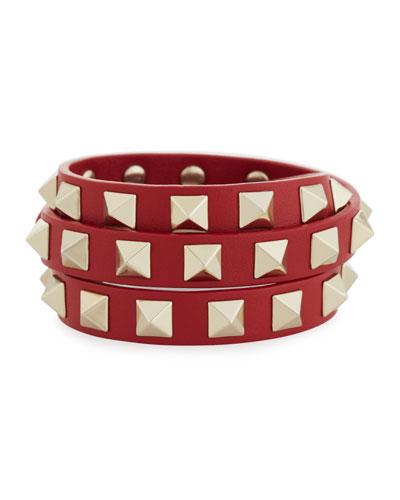 Triple-Wrap Leather Bracelet, Red