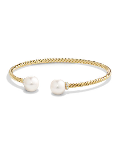 Solari 18K Gold & Freshwater Pearl Cuff Bracelet with Diamonds