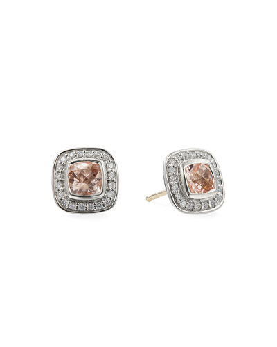 Petite Albion Earrings with  Pink Morganite and Diamonds