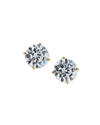 14kt Yellow Gold CZ Stud Earrings, 5 tcw