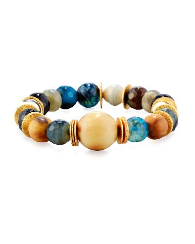 Blue Agate & Labradorite Beaded Bracelet