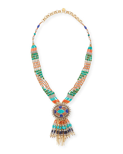 Beaded Fringe Pendant Necklace