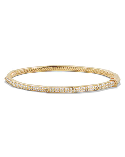 Stax 18k Gold Faceted Bracelet with Diamonds, Size S