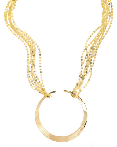 Nude Geo Hoop Pendant Necklace