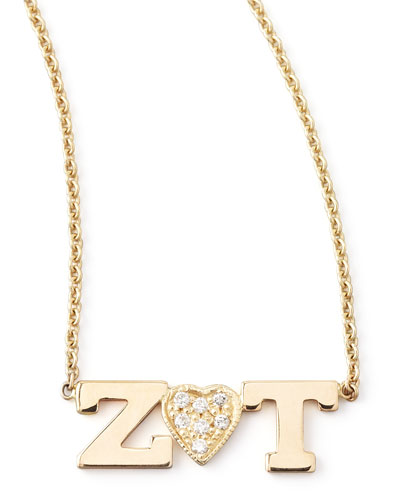 Personalized Two-Letter Diamond-Heart Necklace
