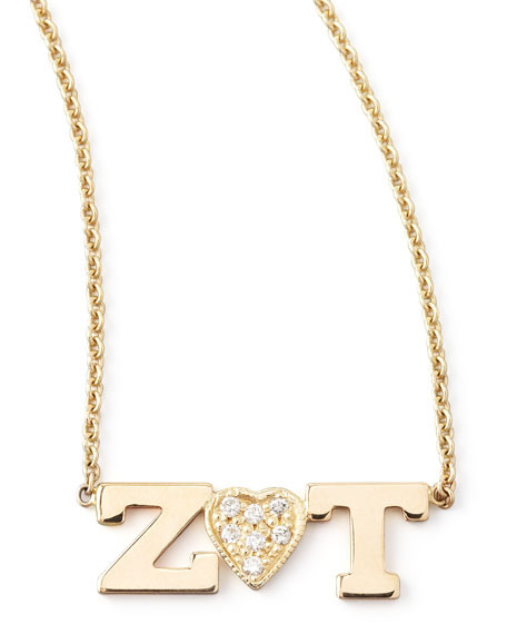 Zoe Chicco 14k Personalized Two-Letter Diamond-Heart Necklace