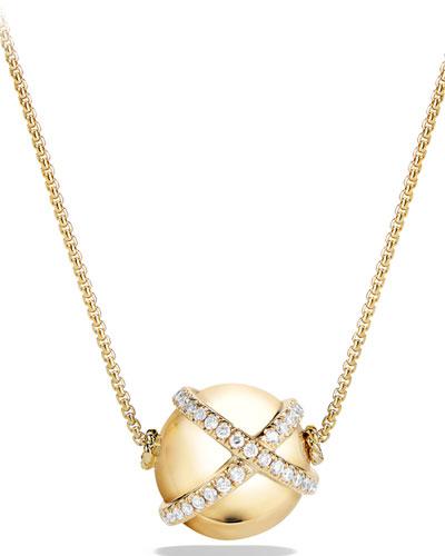 12mm Solari Ball Pendant Necklace with Diamonds