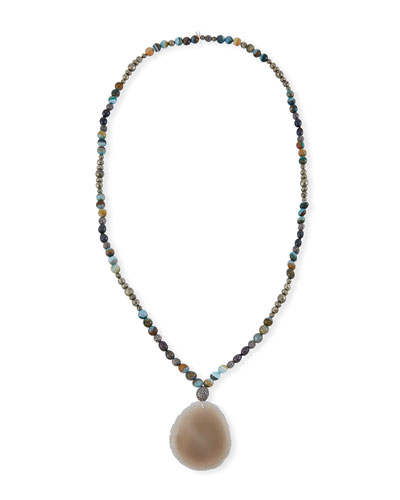 Indie Beaded Labradorite, Pyrite & Pearl Necklace
