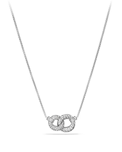Belmont Extra-Small 18K White Gold Double-Link Necklace with Diamonds