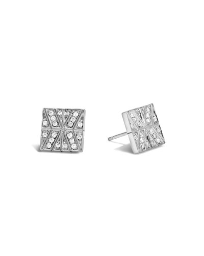 Modern Chain Diamond Square Earrings