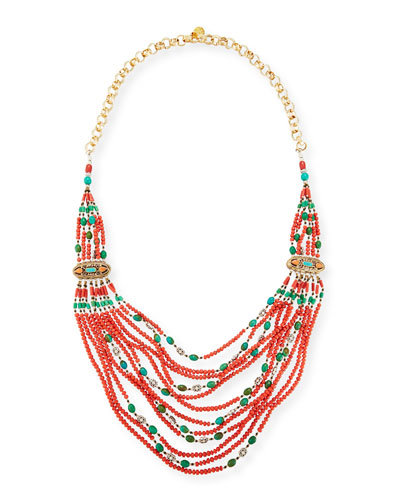 Beaded Multi-Strand Necklace, Red