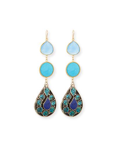 Blue Chalcedony & Turquoise Earrings