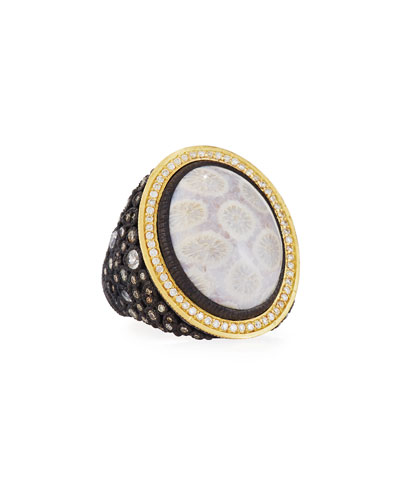 Old World Cluster Ring w/ Fossil Coral, Mixed Diamonds & Sapphires