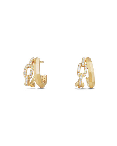 Stax 18K Gold Double Huggie Hoop Earrings with Diamonds