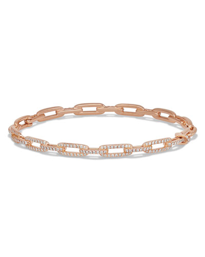 Stax Chain Link Bracelet in 18k Rose Gold w/ Diamonds