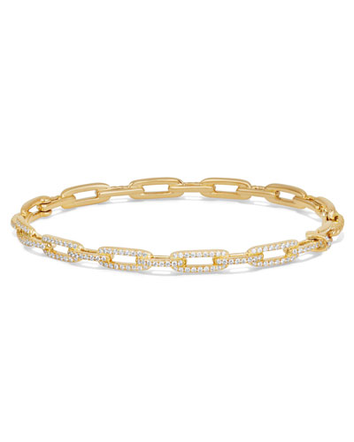 Stax Chain Link Bracelet in 18k Yellow Gold w/ Diamonds, Size L