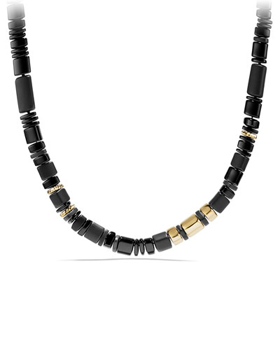 Nevelson Black Onyx Rondelle Necklace, 18