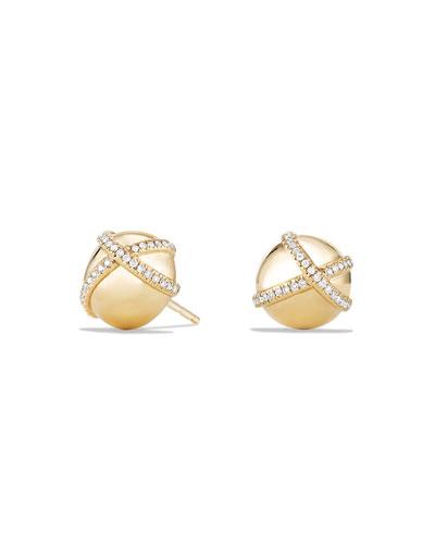 10mm Solari Stud Earrings with Pave Diamonds