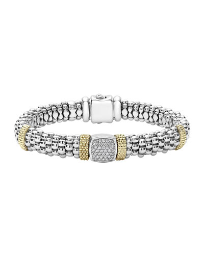 Sterling Silver & 18K Gold Caviar Bracelet with Diamonds