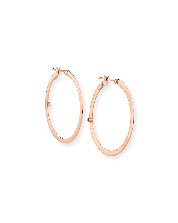 Flat 18k Rose Gold Hoop Earrings