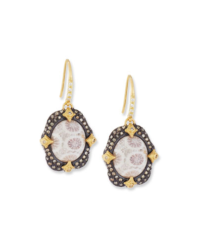 Old World Crivelli Drop Earrings with Fossil Coral & Mixed Diamonds