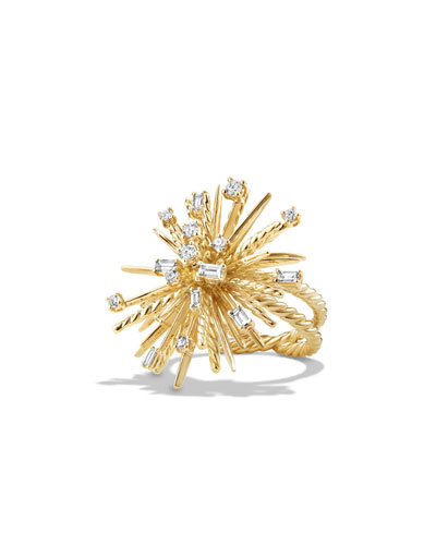 Supernova Mixed-Cut Diamond Spray Ring in 18K Gold, Size 8