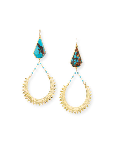 Bronzite Turquoise Hoop Drop Earrings
