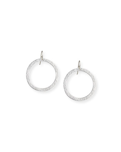 Paris Large Hammered Round Drop Earrings
