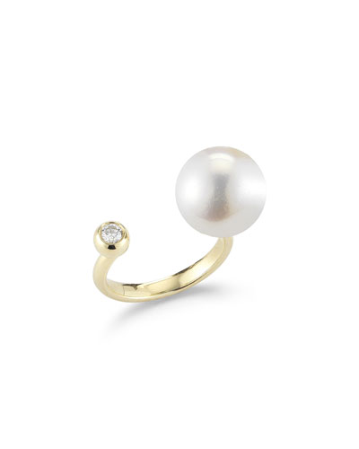 Diamond & Pearl Split-Band Ring