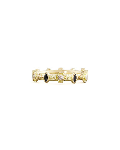Yellow Gold Diamond & Marquise Sapphire Stack Ring