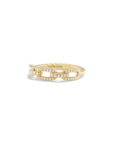 4.5mm Stax 18K Chain Link Ring with Diamonds, Size 8