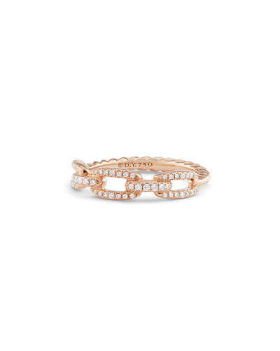 Stax Pave Diamond Chain Link Ring in 18K Rose Gold, Size 7