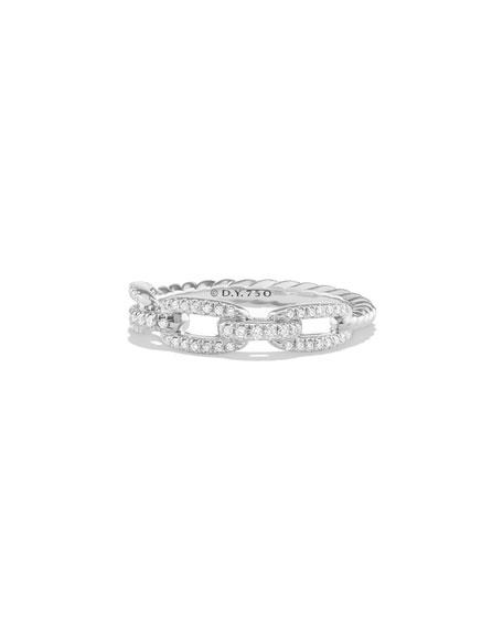 David Yurman Stax Pave Diamond Chain Link Ring in 18K White Gold, Size 6